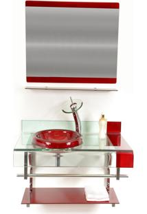 Gabinete Vidro Para Banheiro Turquia Vermelho Cereja Ekasa