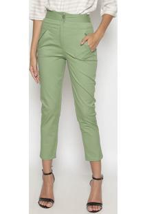 Calça Cropped Com Bolsos - Verde- Suzan Zhengsusan Zheng