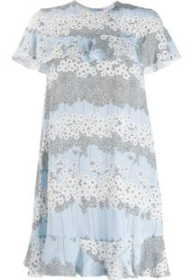 Red Valentino Floral Print Silk Dress - Azul