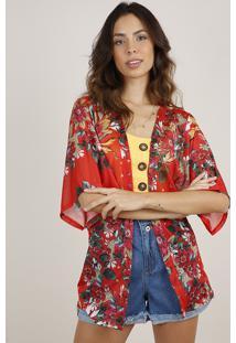 Kimono Feminino Estampado Floral Laranja