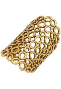 Anel Banhado A Ouro Com Micro Furos- Dourado- 3X6Cmvincenzo Di Fiori