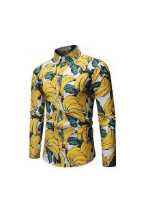 Camisa Masculina Estampada Fruit - Amarela