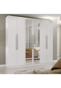 Guarda Roupa Casal Com Espelho 6 Portas 3 Gavetas Montreal Mapi Móveis Branco