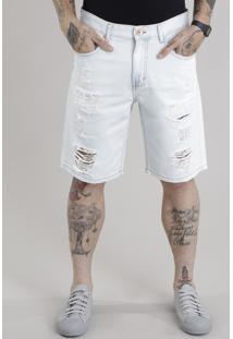 Bermuda Jeans Reta Destroyed Com Algodão + Sustentável Azul Claro