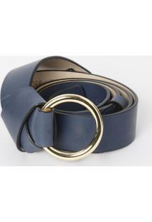 Cinto Em Couro Com Nó- Azul Marinho & Dourado- 3X85Clança Perfume