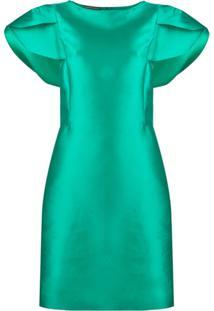 Alberta Ferretti Vestido Mini Mangas Curtas - Verde