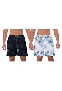 Kit 2 Shorts Praia Estampado Flores Azuis Moda Academia Piscina Surf Banho W2