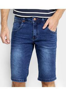 Bermuda Jeans Zune Elastano Estonada Masculina - Masculino-Azul