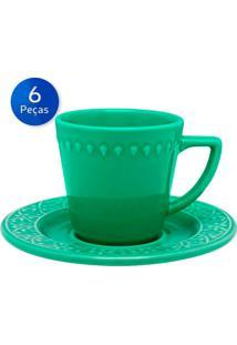 Conjunto De Xícaras Para Chá Com Pires 6 Peças Mendi Salvia - Oxford - Verde