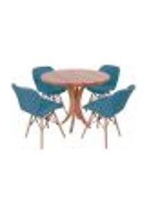 Conjunto Mesa De Jantar Tampo De Madeira 90Cm Com 4 Cadeiras Slim - Turquesa