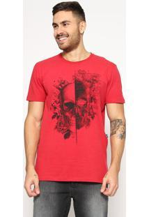 "Camiseta ""Caveira""- Vermelha & Preta- Tritontriton"