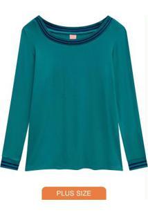 Blusa Verde Turquesa Com Punho Canelado