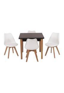 Conjunto Mesa De Jantar Luiza 80Cm Preta Com 4 Cadeiras Leda - Branco
