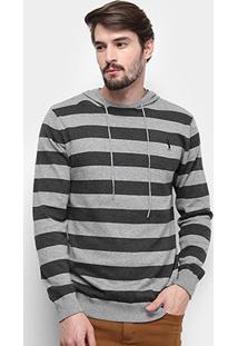 Blusa Tricot Aleatory Listrada Capuz Masculina - Masculino-Cinza Claro