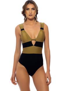 Body Kalini Beachwear Trie Gold Preto