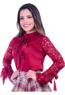 Blusa Miss Lady Bordo Com Rendas