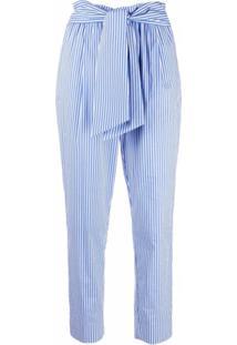 Manuel Ritz Calça Cropped Com Cinto E Listras - Azul