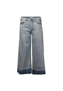 Calça Khelf Jeans Wide Cropped Jeans Delave
