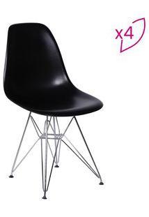 Or Design Jogo De Cadeiras Eames Dkr Preto & Prateado 4Pã§S
