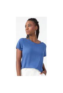Blusa Feminina Com Gola Vazado Rovitex Azul