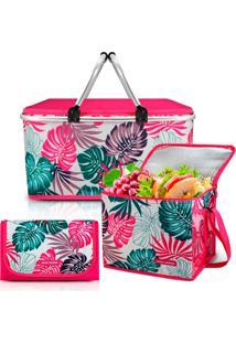Kit Piquenique Cesto Térmico + Bolsa Térmica + Tapete Impermeável Pink Jacki Design