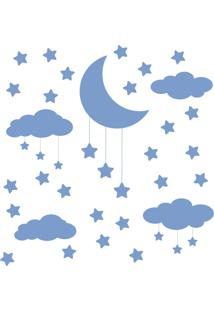 Adesivo De Parede Infantil Nuvens Lua E Estrelas Azul
