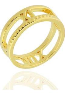 Anel Números Romanos Semi Joia - Feminino-Dourado