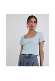 Blusa Feminina Mindset Cropped Canelado Manga Curta Decote Quadrado Azul Claro