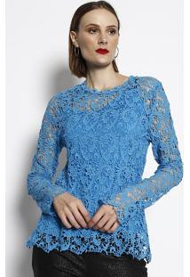 fdaa677d0 ... Blusa Em Renda - Azul Clarocotton Colors Extra