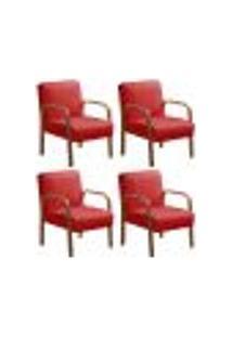 Kit 4 Cadeiras Anita Poltrona Decorativa Braço Madeira Para Escritório, Recepção, Sala De Estar Vários Ambientes - Suede Vermelho