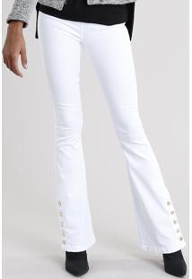 Calça Feminina Flare Com Botões Na Barra Cintura Alta Branca