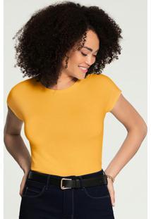 Blusa Malha Cropped Básica Amarelo