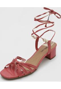 Sandália Dafiti Shoes Amarração Rosa