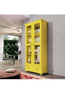 Cristaleira 2 Portas Com Vidro Albany Amarelo - Urbe Móveis