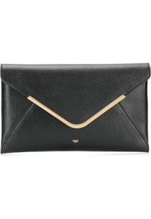 Anya Hindmarch Clutch Envelope Com Acabamento Metálico - Preto