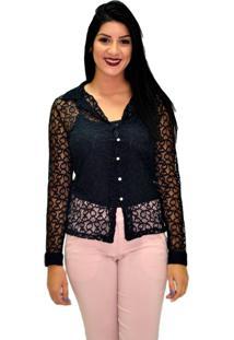 Camisa Manga Longa Energia Fashion 271114 Rendada Preta