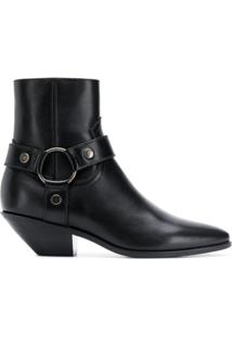 Saint Laurent Ankle Boot West Harness - Preto