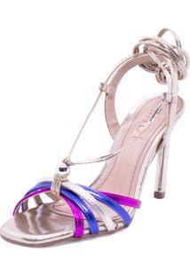 Sandália Midi Calçados Metalizada Pink