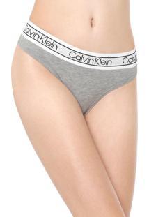 Calcinha Calvin Klein Underwear Fio Dental Flx Cinza