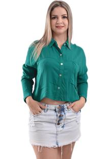 Camisa Lady Rock Cropped Mill Verde Escuro