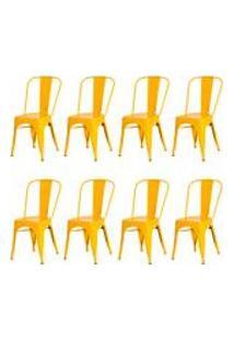 Kit 8 Cadeiras Tolix Iron Design Amarela Aco Industrial Sala Cozinha Jantar Bar