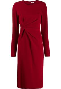 P.A.R.O.S.H. Vestido Midi Com Detalhe Torcido - Vermelho