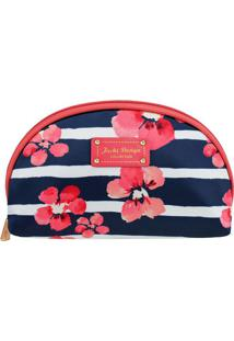 Nécessaire Meia Lua Floral - Azul Marinho & Rosa - 1Jacki Design