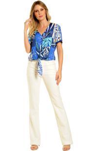 Blusa Com Amarração Decote Amplo Modelagem Ampla - Casual Azul