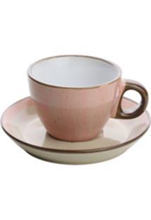 Conjunto 4 Xícaras Porcelana Para Café Com Pires Rosa 100Ml