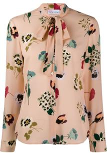 Red Valentino Tied-Neck Floral Print Blouse - Neutro