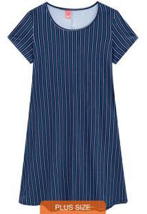 Vestido Azul Escuro Curto Estampado Listrado
