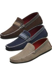 Kit De 3 Pares Mocassim Danyum Shoes Dockside Marrom