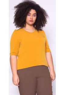 Blusa Almaria Plus Size Ela Linda Básica Mostarda Amarelo