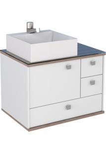Gabinete De Banheiro Sem Cuba Moema 42,5X60Cm Branco E Tamarindo Cozimax